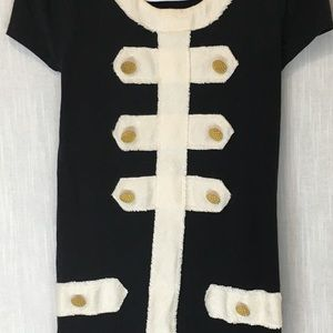 Black Gold Buttons Cream Trim Mini Dress S/P